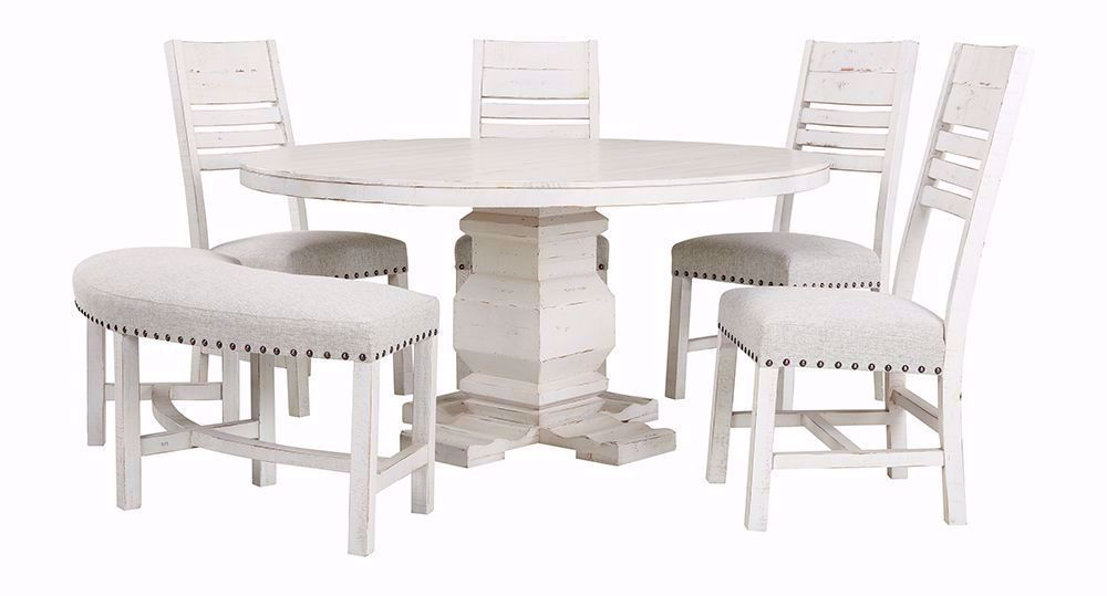 Condesa White Round Dining Table with Four Chairs