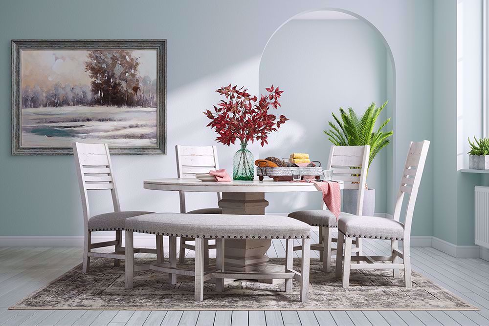 Picture of Condesa White Round Dining Table with Four Chairs