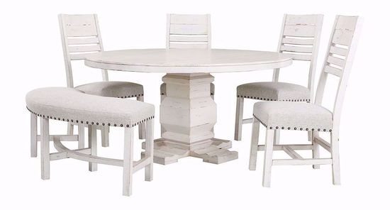 Condesa White Round Dining Table with Four Chairs and One Bench