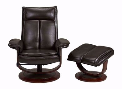 Olga Brown Swivel Recliner with Ottoman