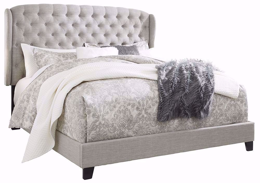 Picture of Jerary Grey King Upholstered Wing Bed Set