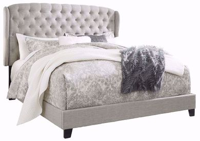 Jerary Grey King Upholstered Wing Bed Set