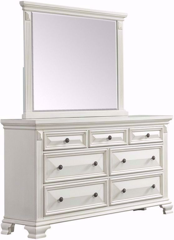 Picture of Calloway White Dresser and Mirror Set
