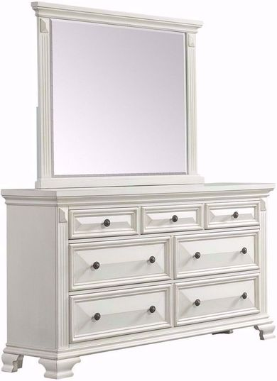 Calloway White Dresser and Mirror Set