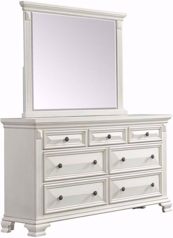 Calloway White Dresser And Mirror Set The Furniture Mart