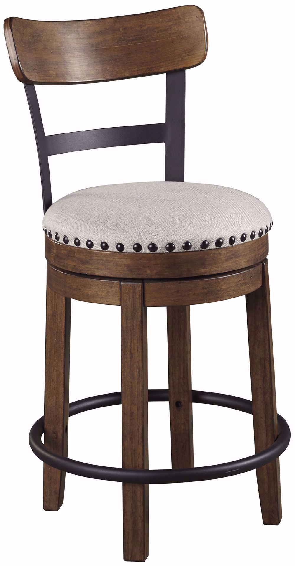 Picture of Valebeck Brown Upholstered Swivel Stool