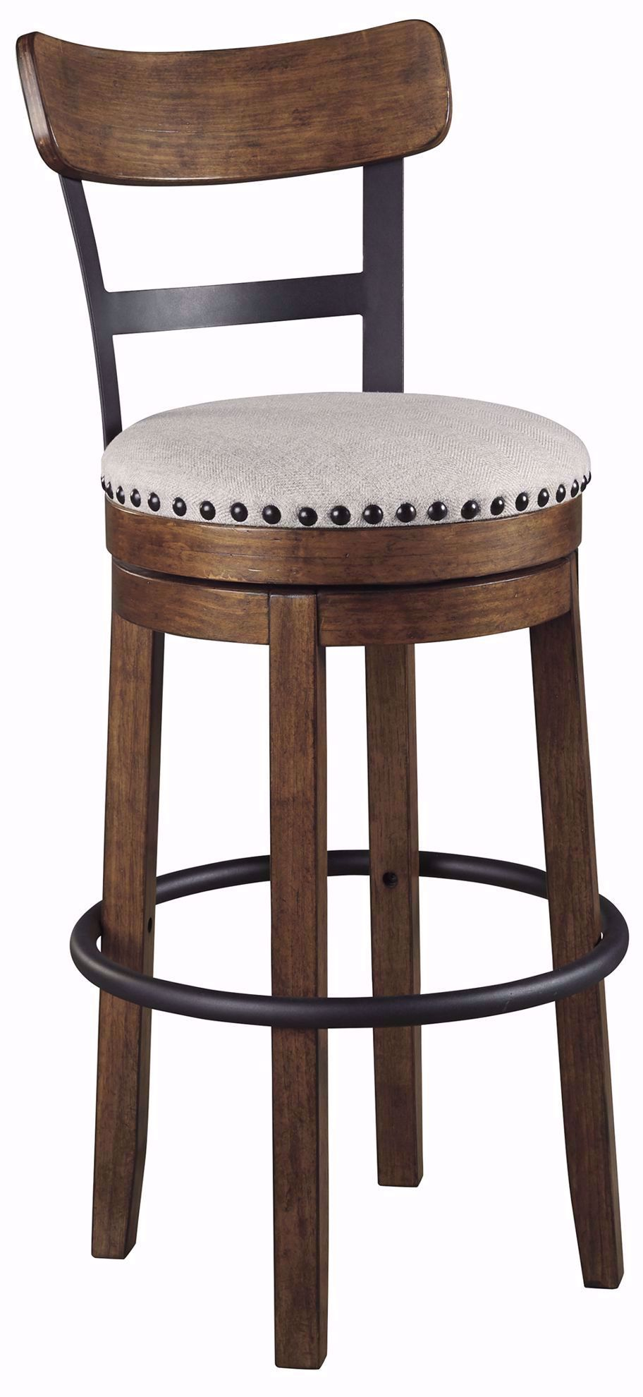 Picture of Valebeck Brown Upholstered Swivel Barstool