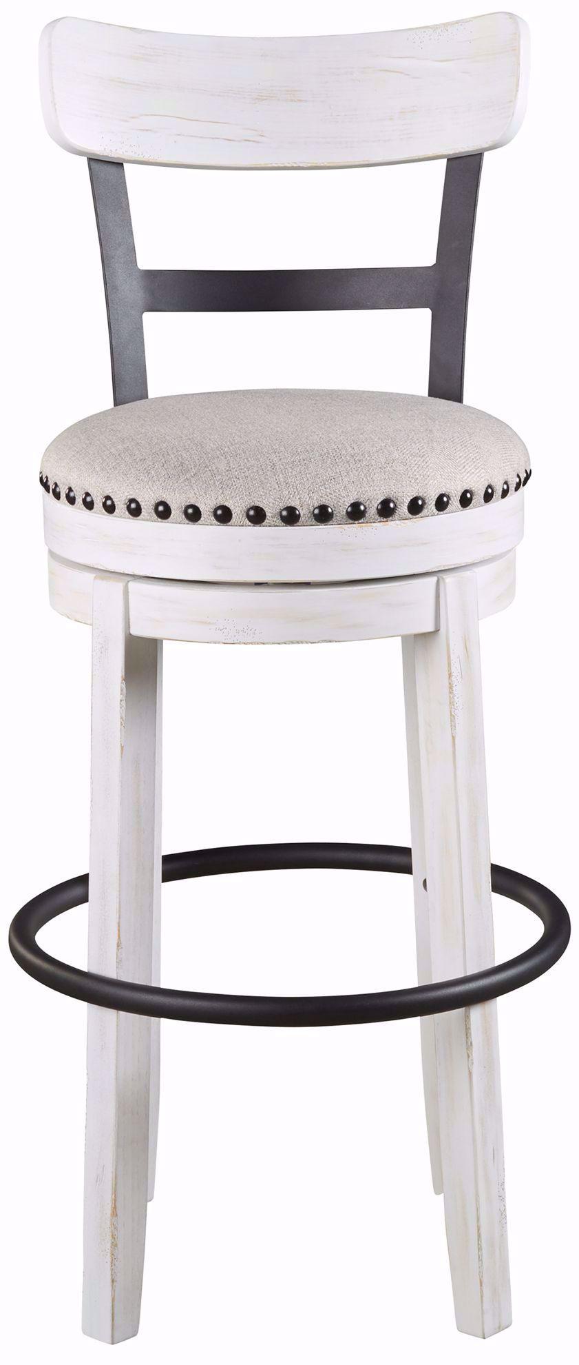Picture of Valebeck White Upholstered Swivel Barstool