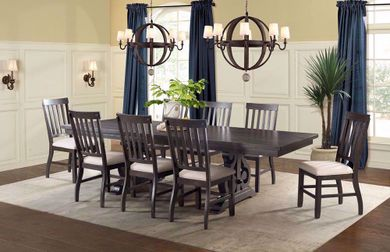 Stone Charcoal Rectangular Dining Table with Four Chairs and One Bench