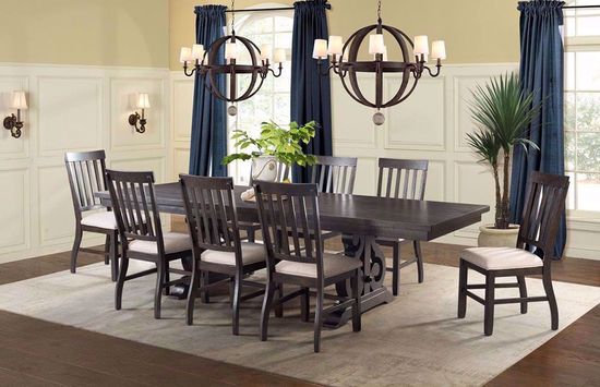 Picture of Stone Charcoal Rectangular Dining Table with Four Chairs and One Bench