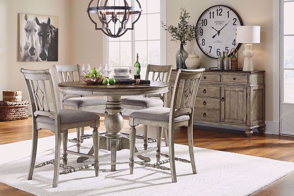 Picture of Plymouth Gray Counter Table and Four Stools