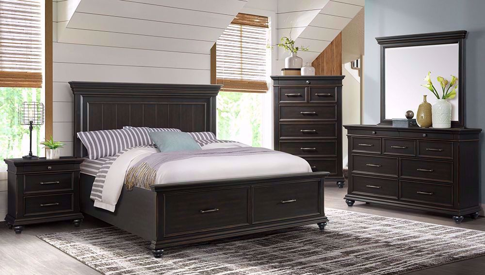 Slater Black Queen Storage Bed Set The Furniture Mart
