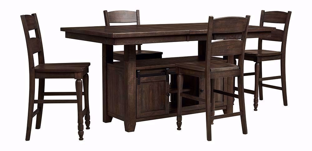 Picture of Madison Barnwood Convertible Extension Table with Four Stools