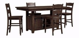 Madison Barnwood Convertible Extension Table with Four Stools