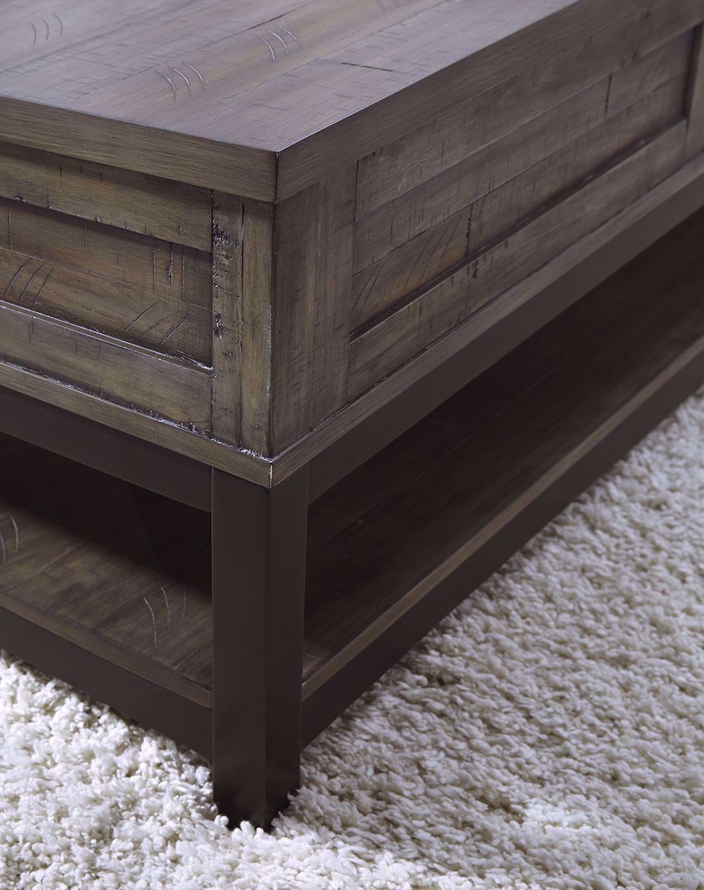 Picture of Johurst Grey and Brown Rectangular Lift Cocktail Table