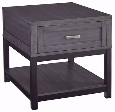 Caitbrook Grey and Black Rectangular End Table
