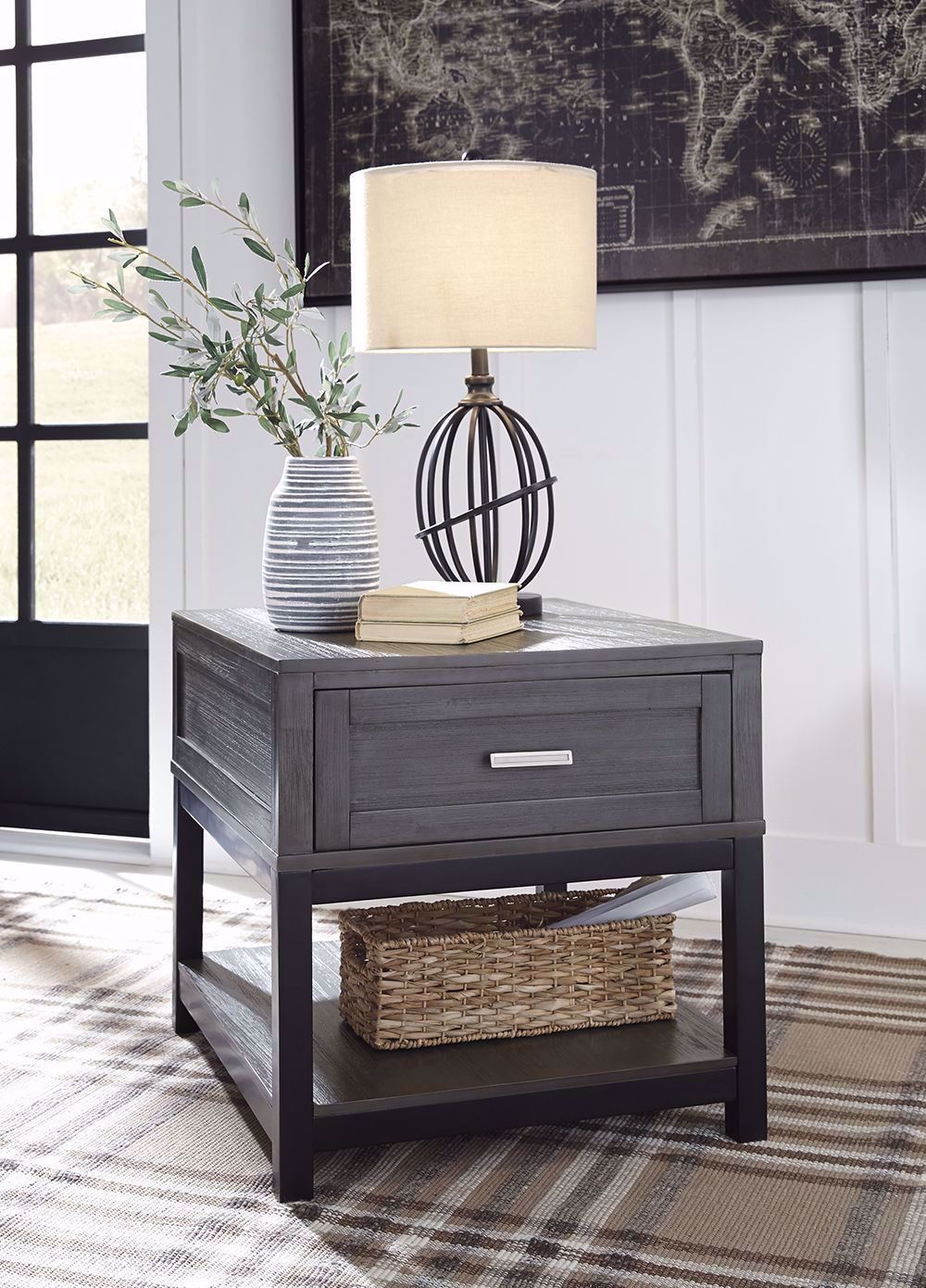 Picture of Caitbrook Grey and Black Rectangular End Table