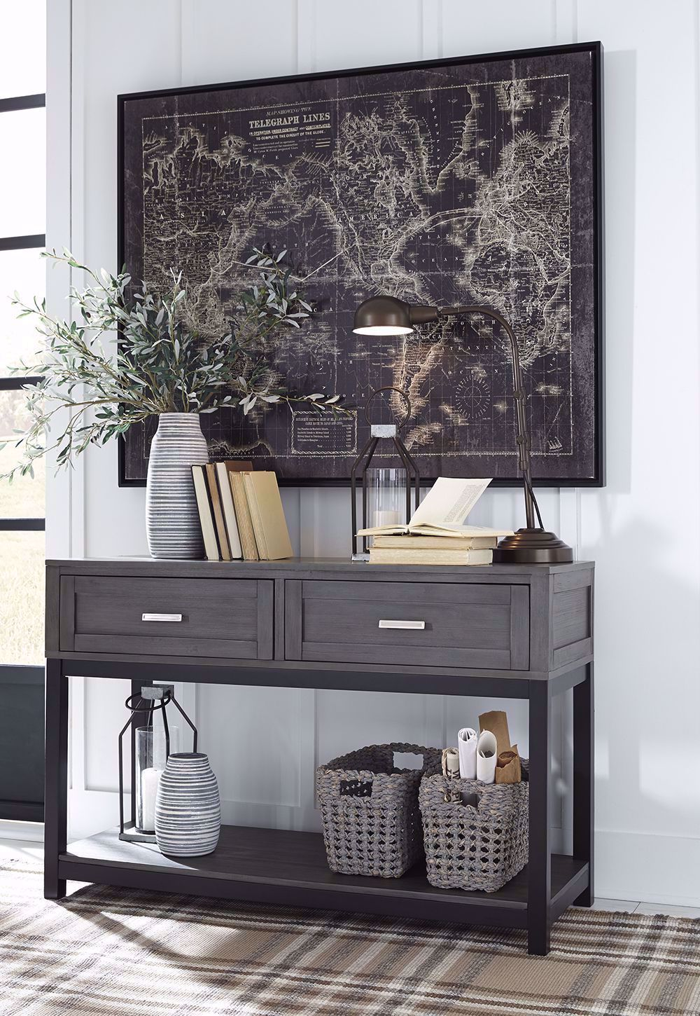 Picture of Caitbrook Grey and Black Sofa Table