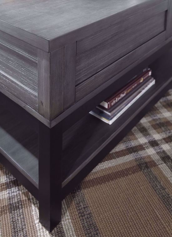 Picture of Caitbrook Grey and Black Lift Cocktail Table