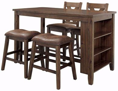 Chaleny Counter Table with Two Backless Stools and Two Barstools