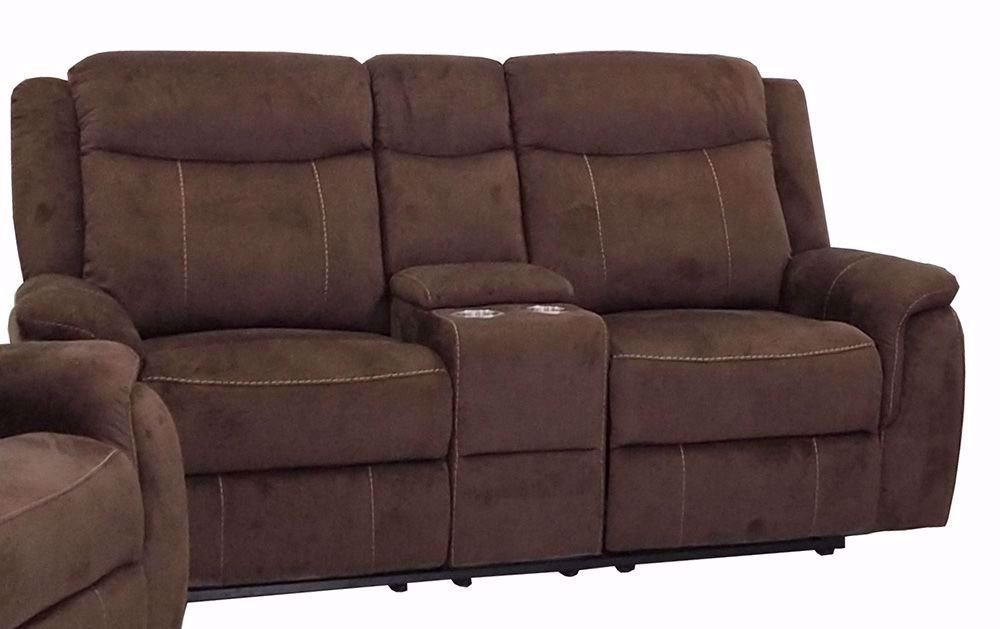 Picture of Cavett Cocoa Reclining Console Loveseat
