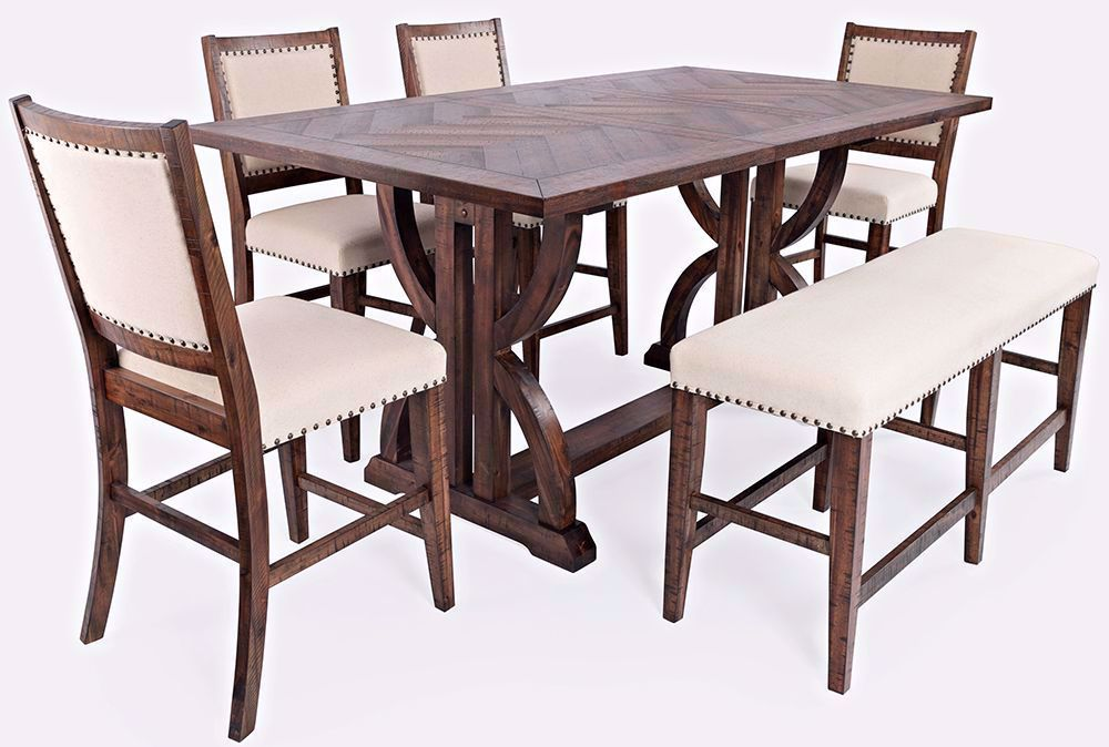 Picture of Fairview Extension Counter Table with Four Stools and One Bench