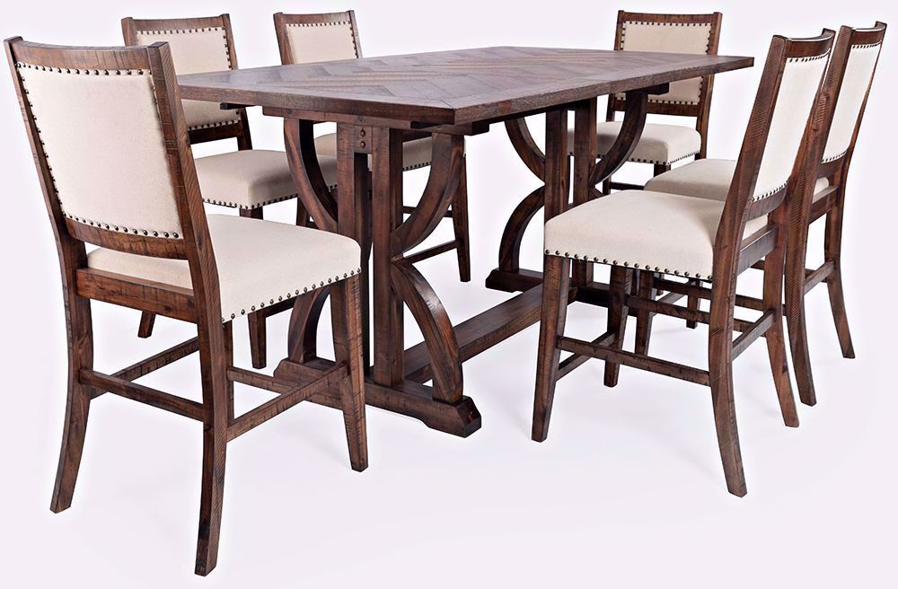 Picture of Fairview Oak Extension Counter Table and Six Stools