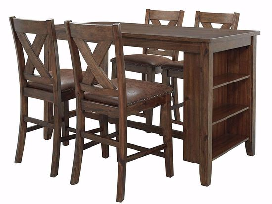 Picture of Chaleny Counter Table with 4 X-Back Stools