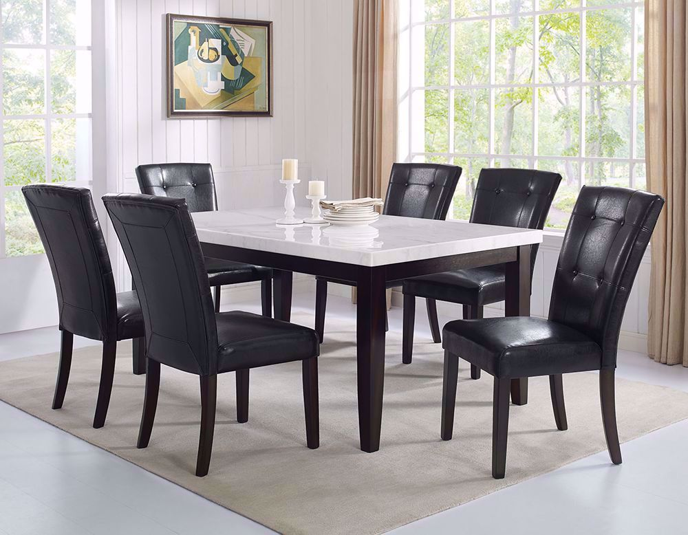 Picture of Francis Rectangular Marble Table with Six Chairs