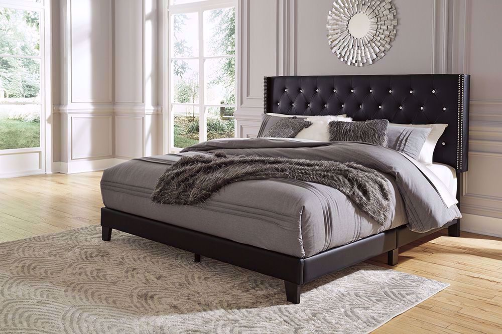 Picture of Vintasso Black Queen Upholstered Bed