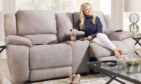 Picture of Explorer Nickel Power Reclining Console Loveseat