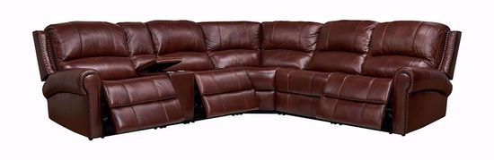 Picture of Cambridge Brown 6 Piece Leather Power Seat and Headrest Sectional