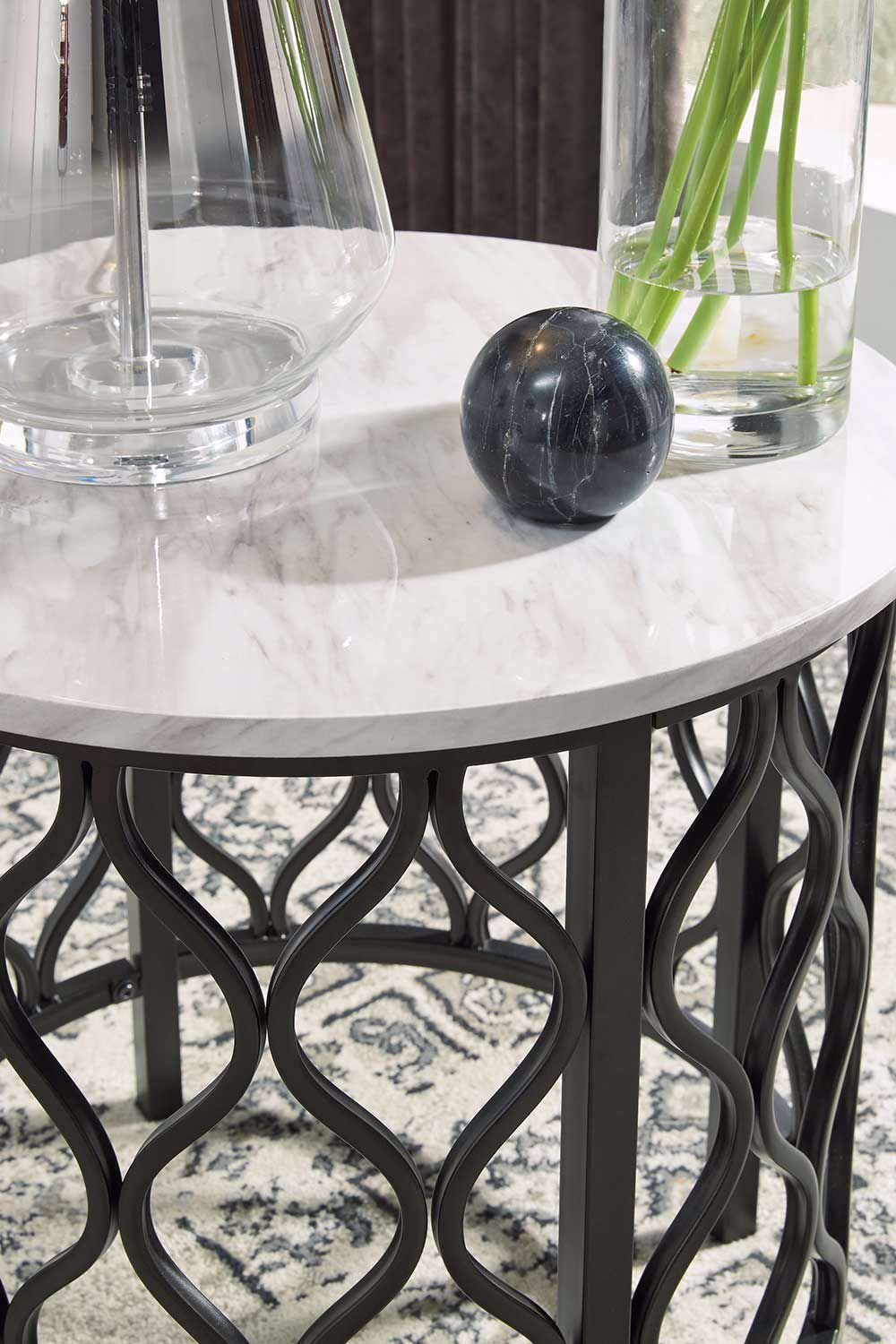 Picture of Trinson Gray and Black Round End Table