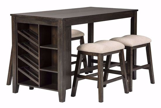 Picture of Rokane Counter Storage Table with Backless Stools
