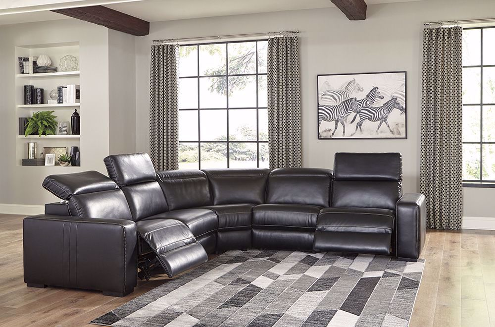 Picture of Mantonya Midnight 5 Piece Power Reclining Sectional
