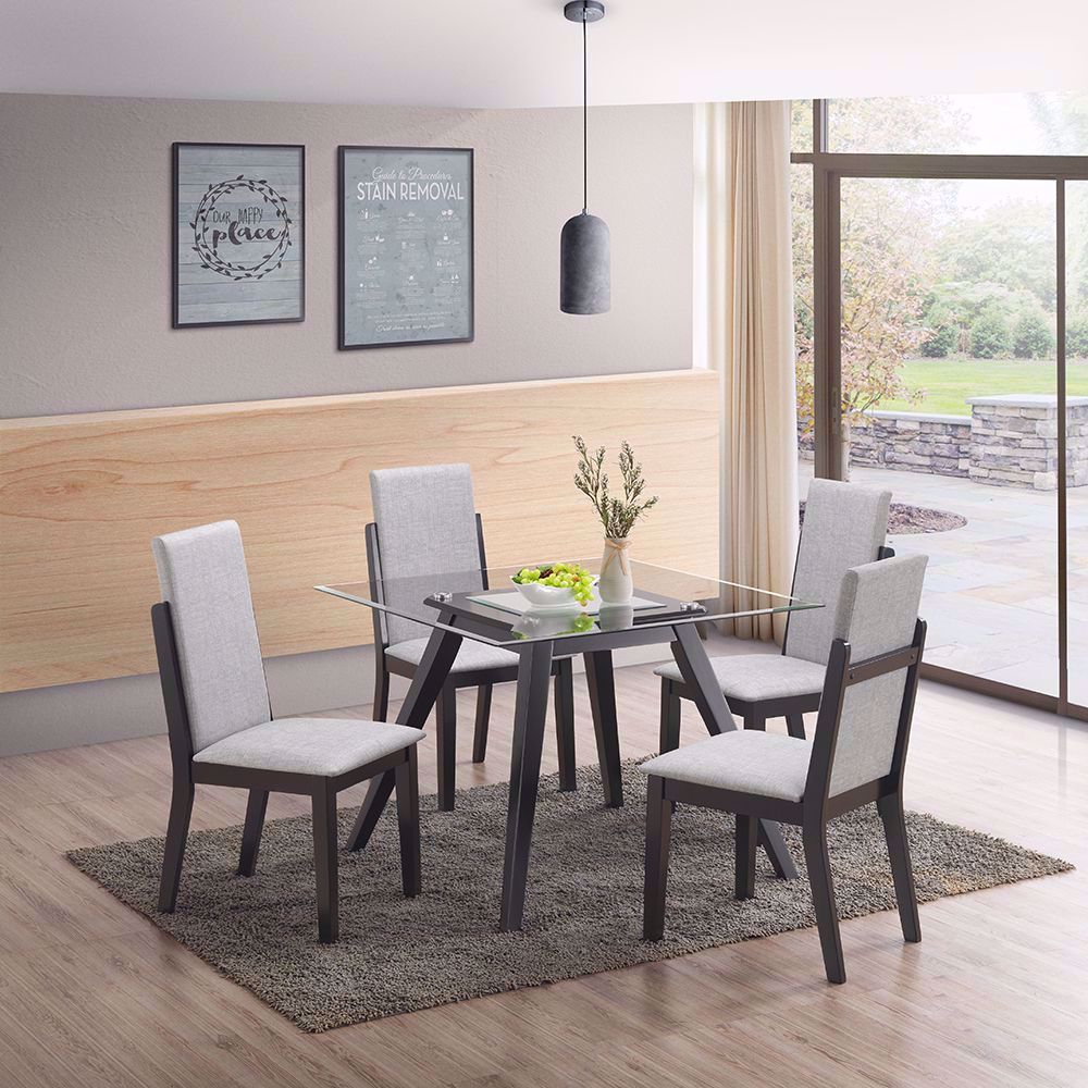 Picture of Zuma Glass and Wood Dining Table and Four Chairs