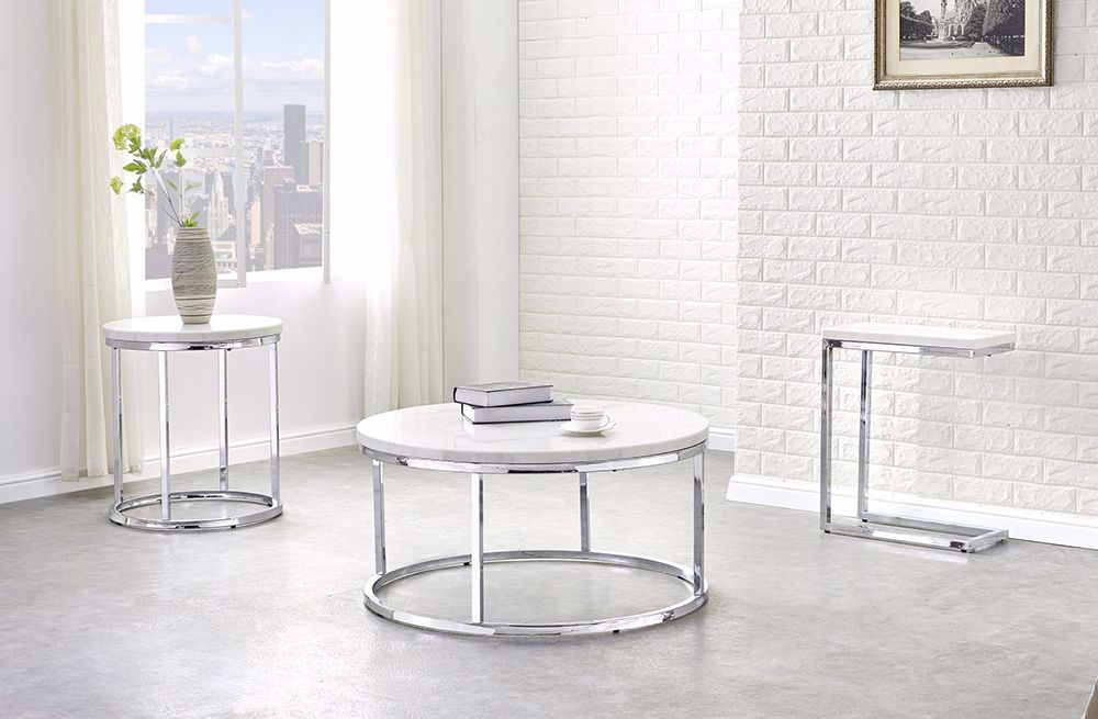 Picture of Echo White Marble Top Chairside Table