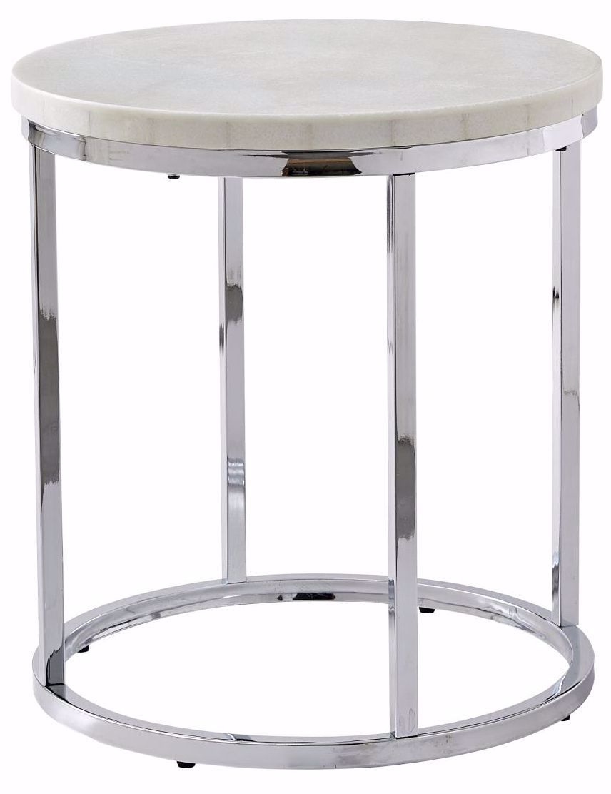Picture of Echo White Marble Top Round End Table