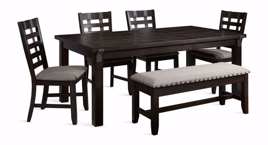 Picture of Astrid Dining Leaf Table with Four Chairs and One Bench