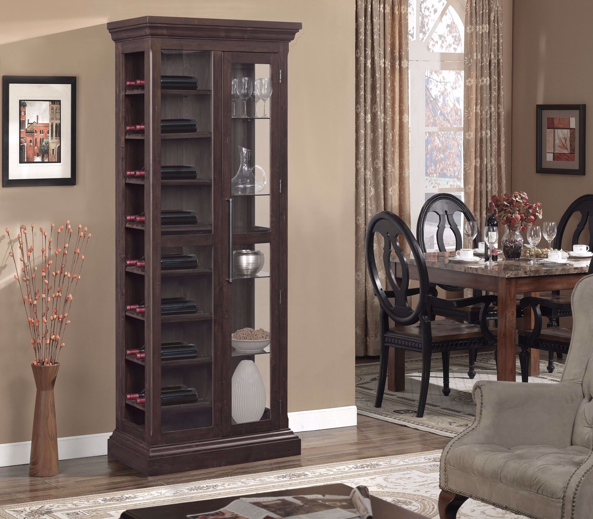 """Picture of 34"""" Curio With Wine Storage"""