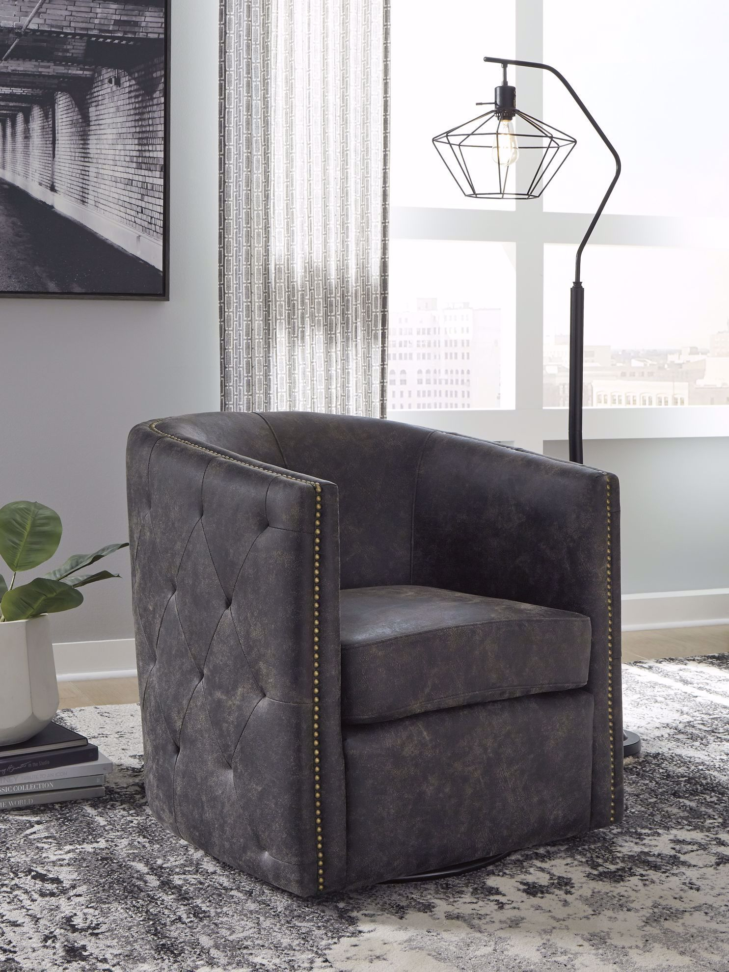 Picture of Brentlow Black Swivel Accent Chair