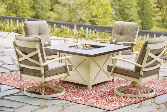 Picture of Preston Bay Square Firepit & 4 Swivel Chairs