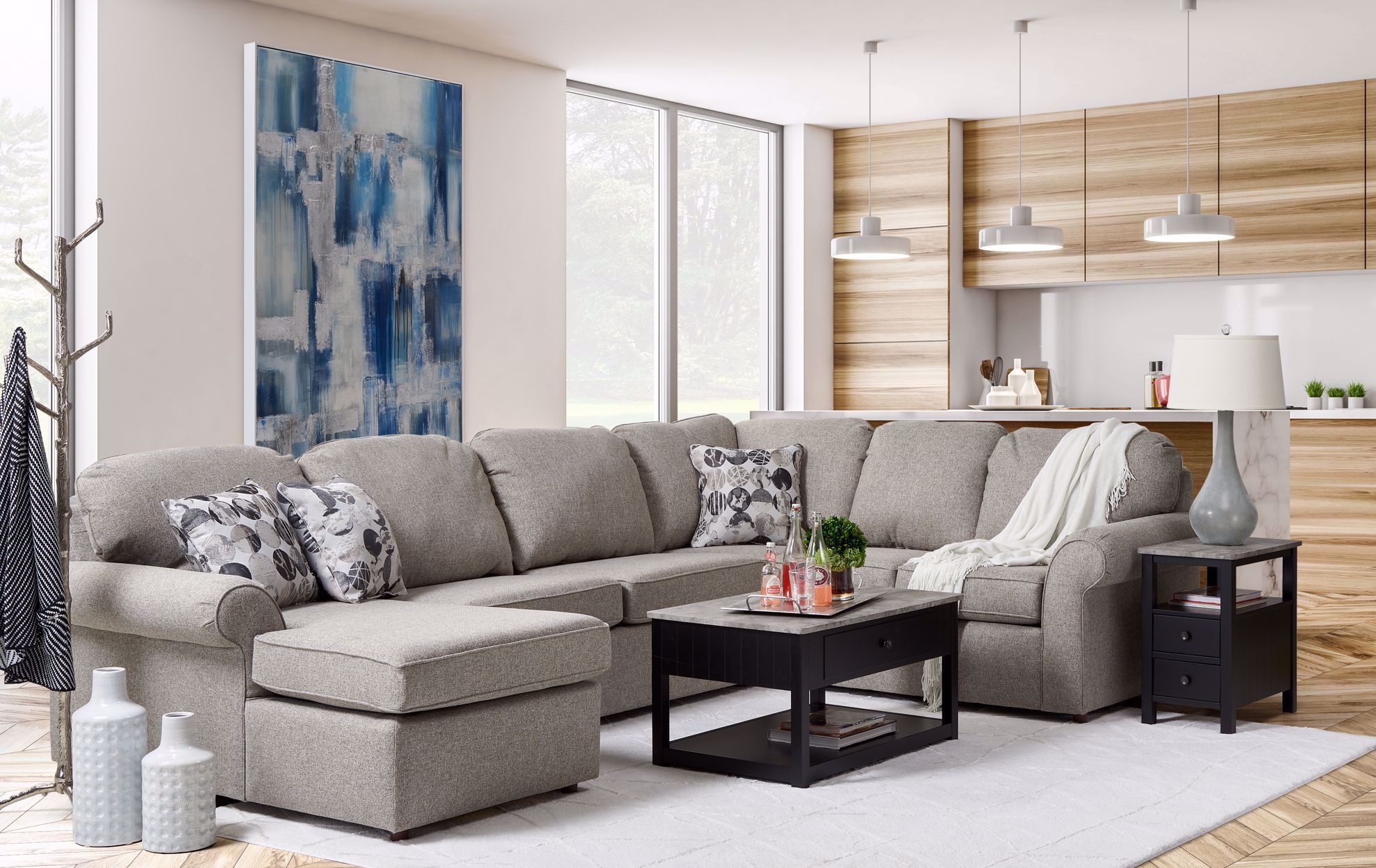Picture of Brentwood Pepper Three Piece Sectional
