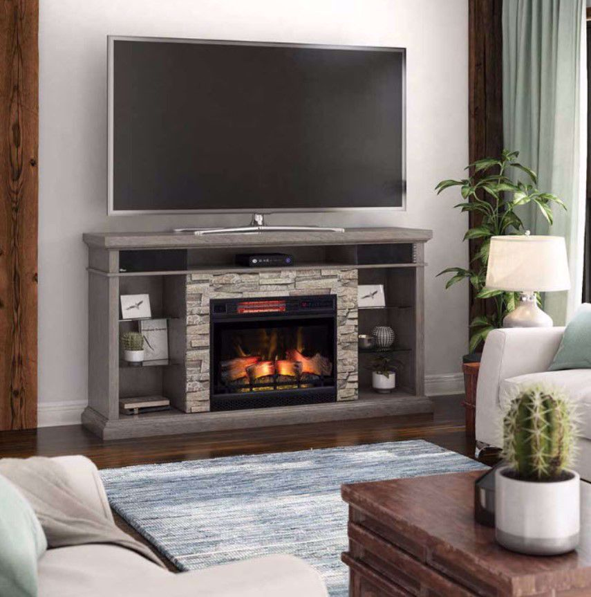 Picture of 73 Inch Ellistone Console with 28 Inch Fireplace Insert and Speaker