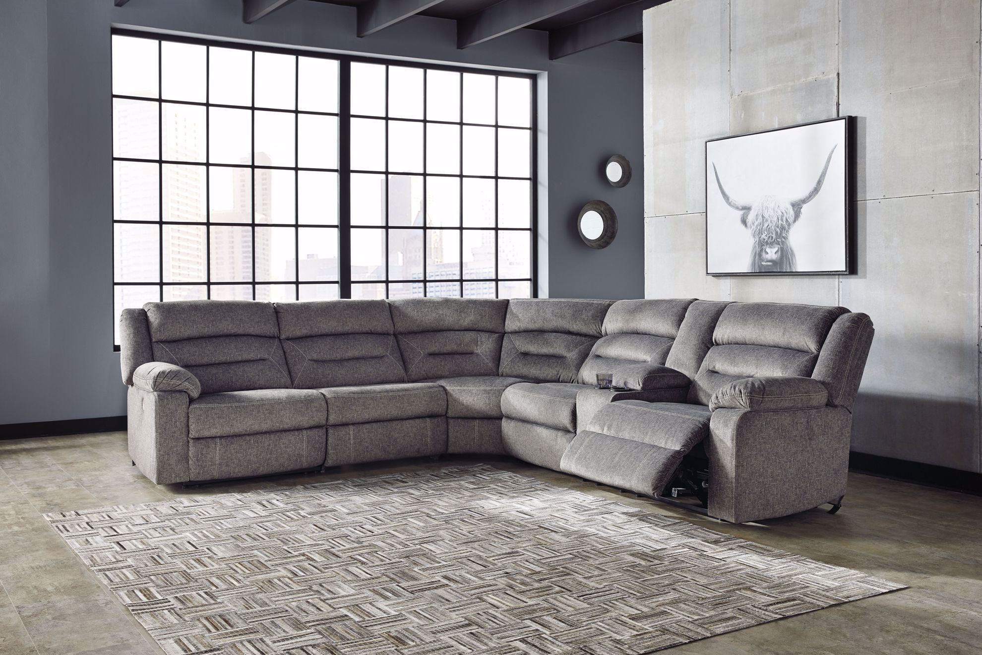 Picture of Malmaison Ash Power Reclining 4-Piece Sectional