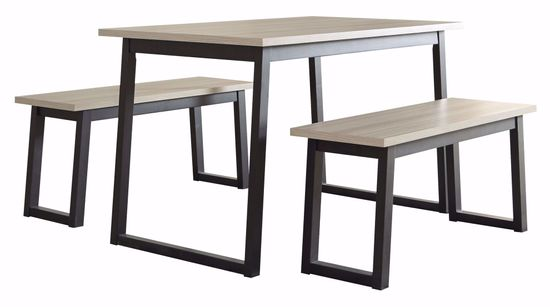 Picture of Waylowe Rectangle Table and 2 Bench Set