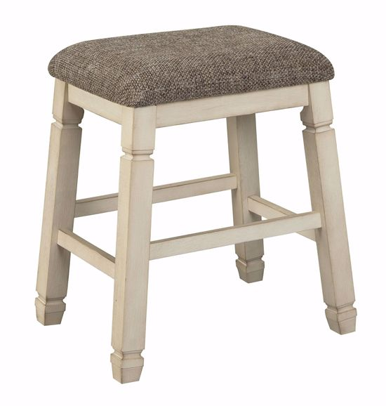 Picture of Bolanburg Counter Storage Table with Two Backless Stools and Two Stools