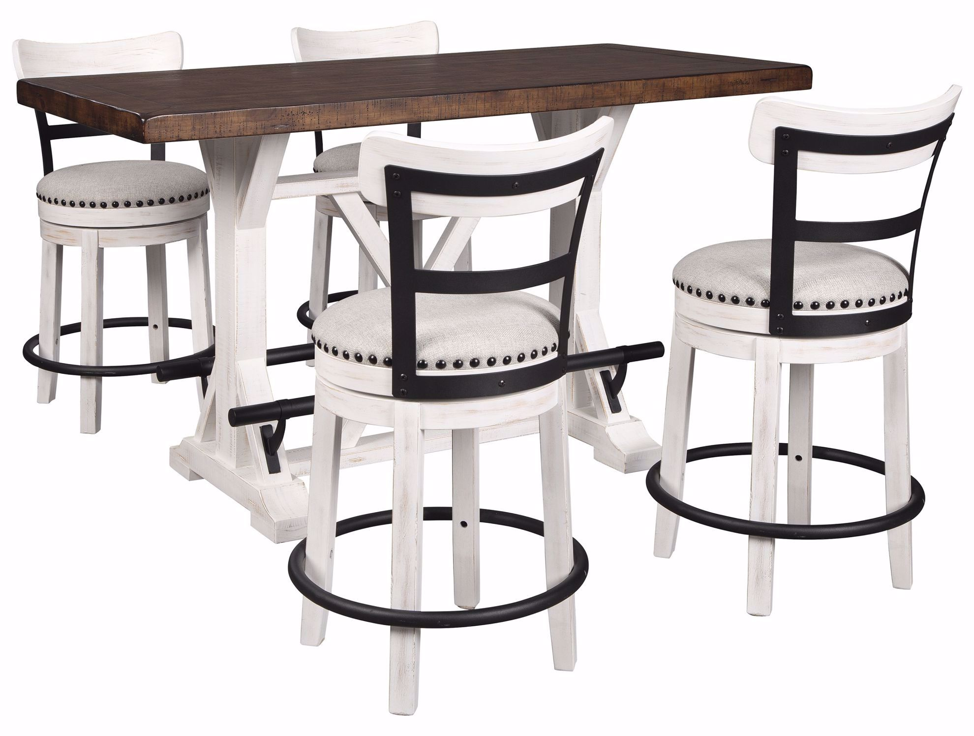 Picture of Valebeck Counter Table & 4 White Stools
