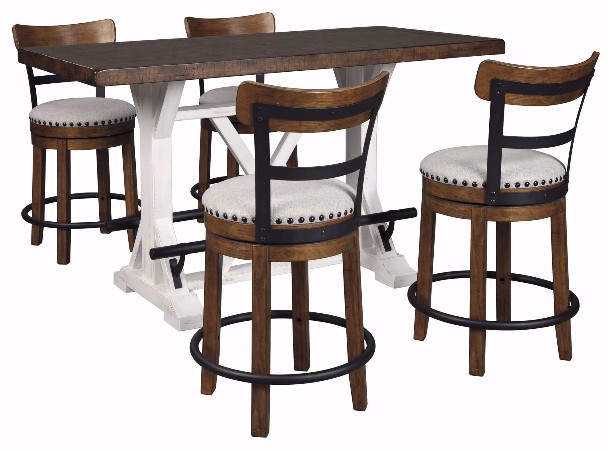 Picture of Valebeck Counter Table & 4 Brown Stools