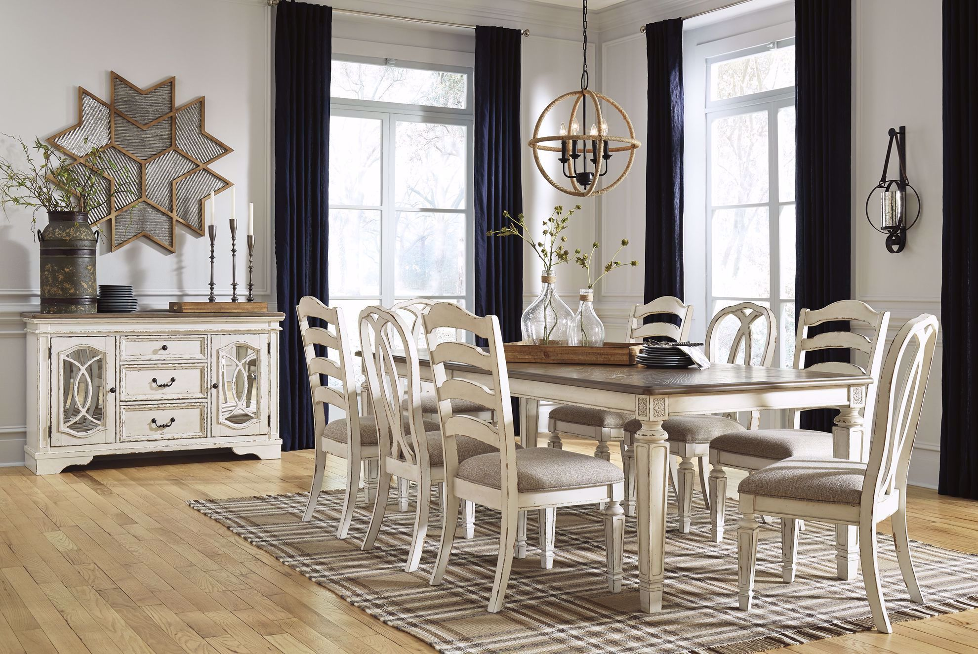 Picture of Realyn Rectangular Table with Four Ladder Back and Two Ribbon Back Chairs